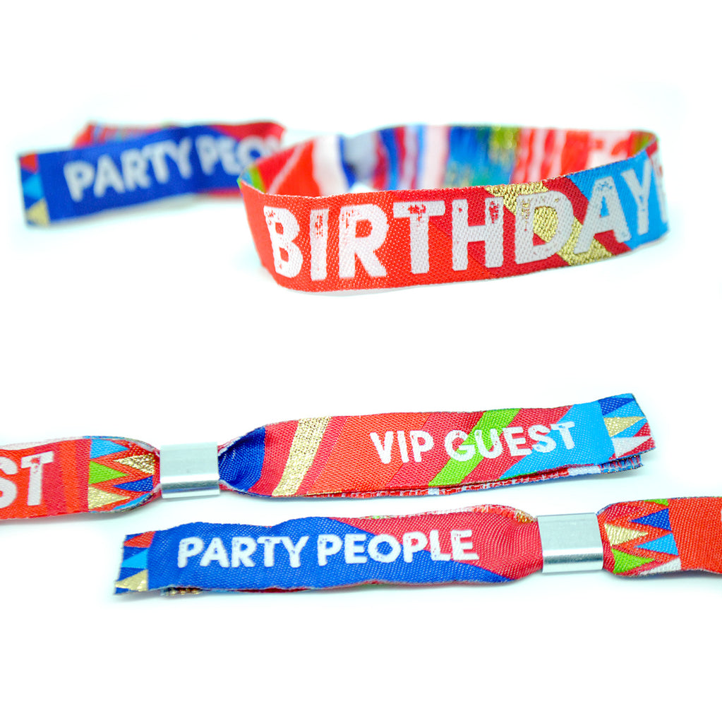 BIRTHDAYFEST Festival themed Birthday Party Wristbands