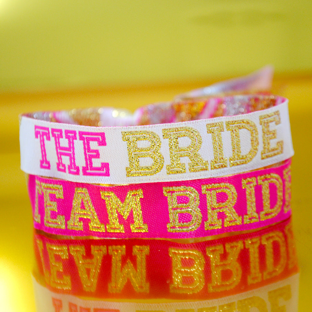 Team Bride Cheerleader Style Hen Party Wristbands in Pink & Gold