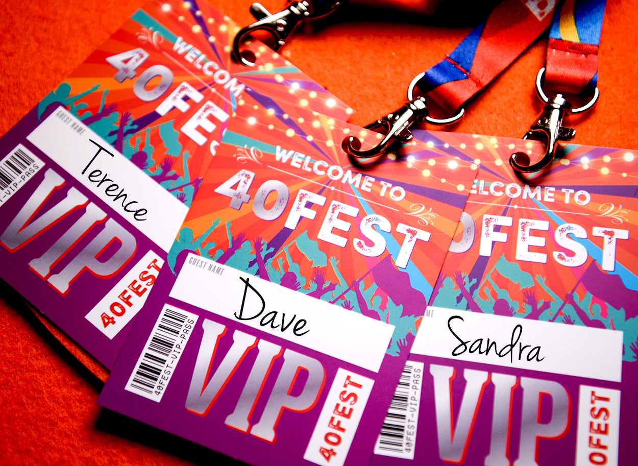 40th birthday party favours accessories festiva vip pass lanyards