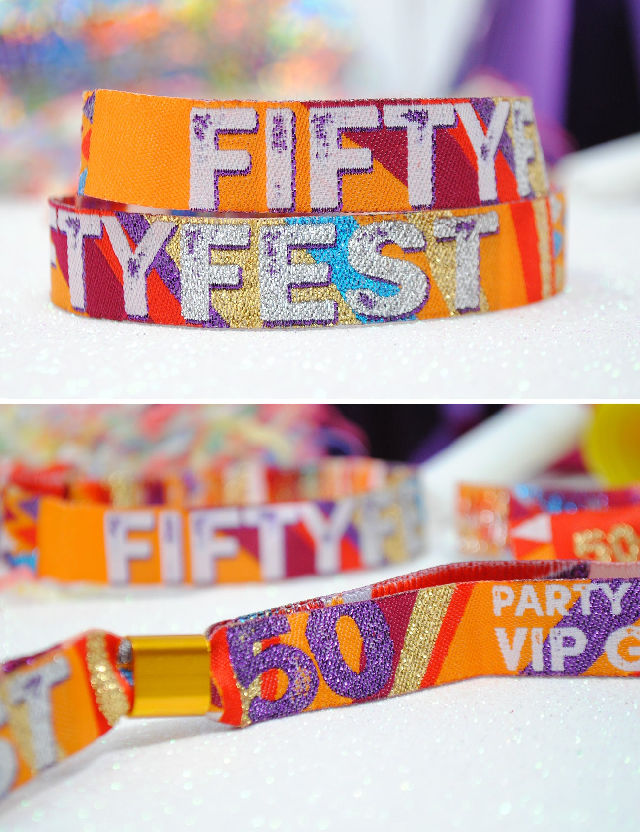 50th birthday festival party wristbands