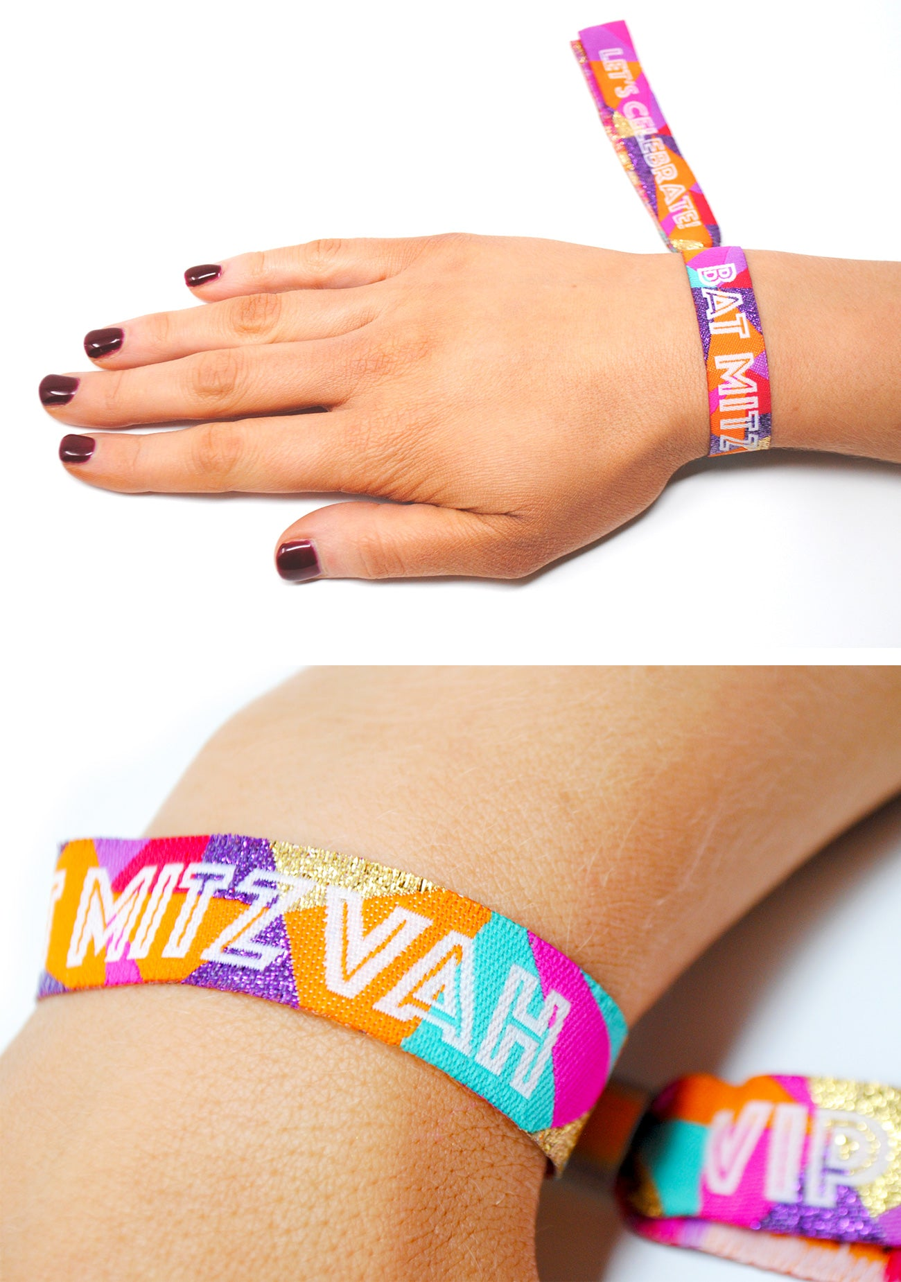 festival theme bat mitzvah party wristbands