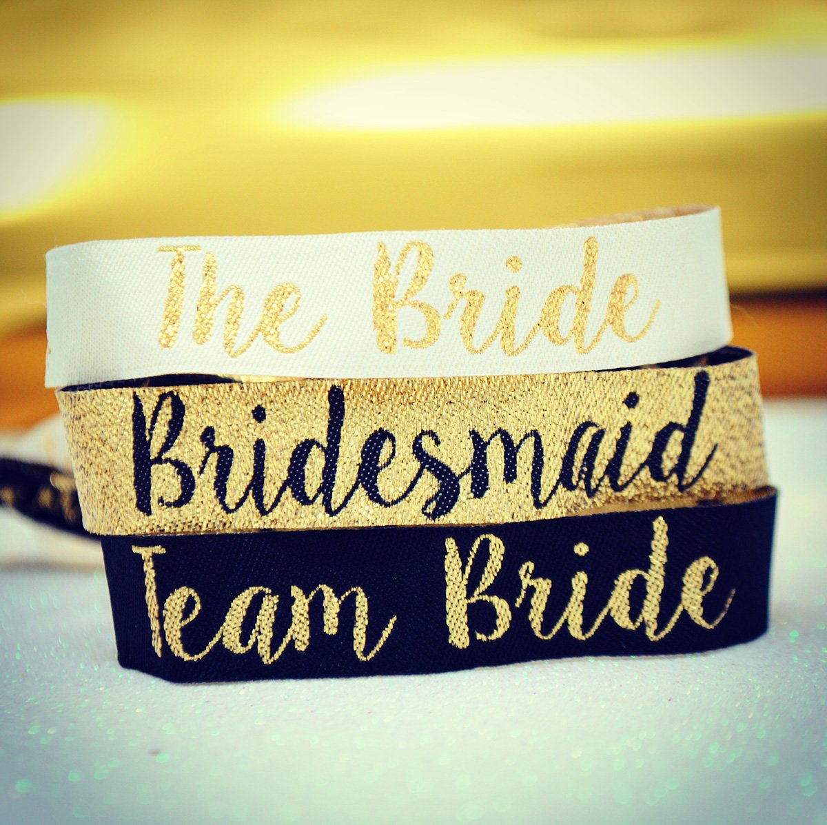 team bride bridesmaid hen party wristbands black & gold