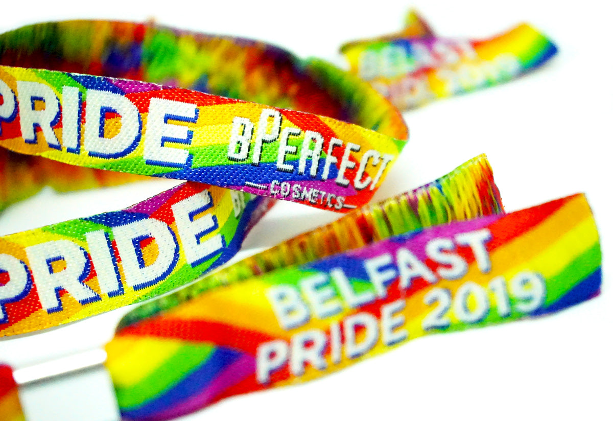 custom made bperfect cosmetics belfast pride wristbands