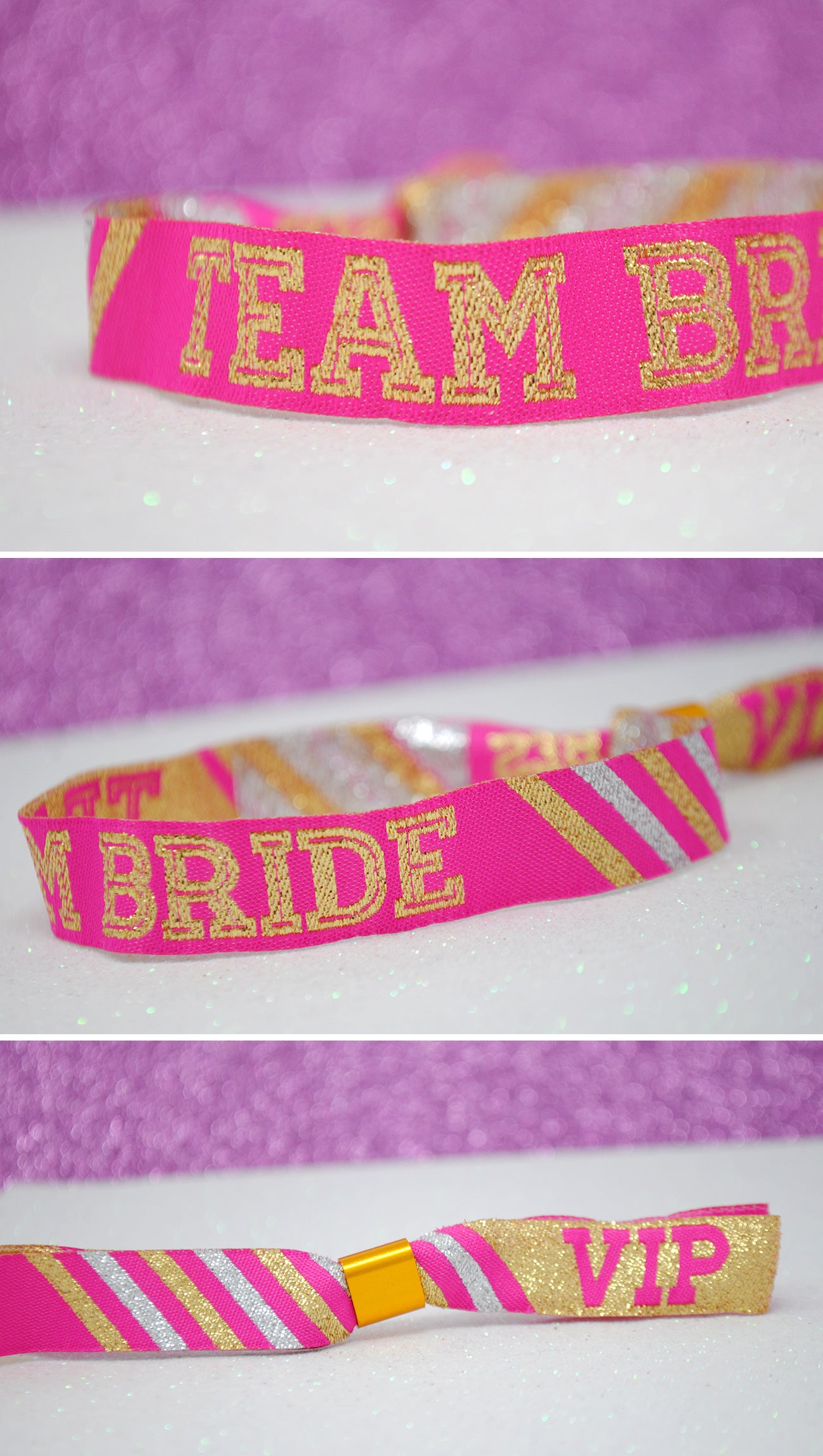 team bride hen party cheerleader wristbands pink and gold