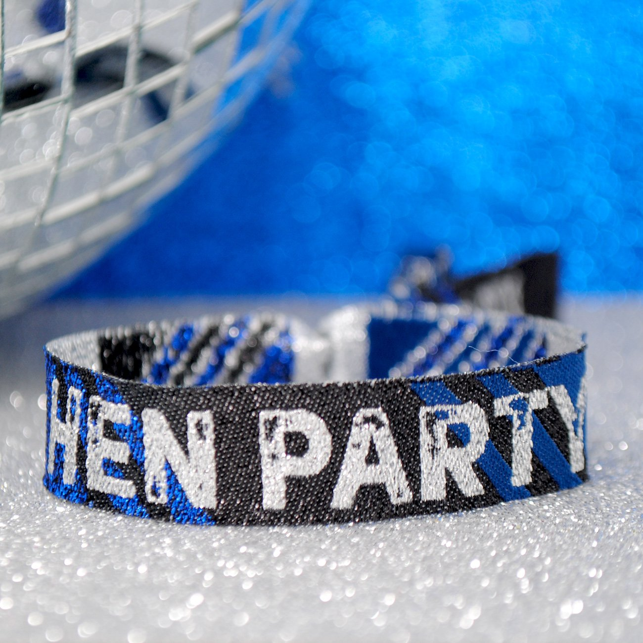 Hen Party Wristband Blue Black and Silver