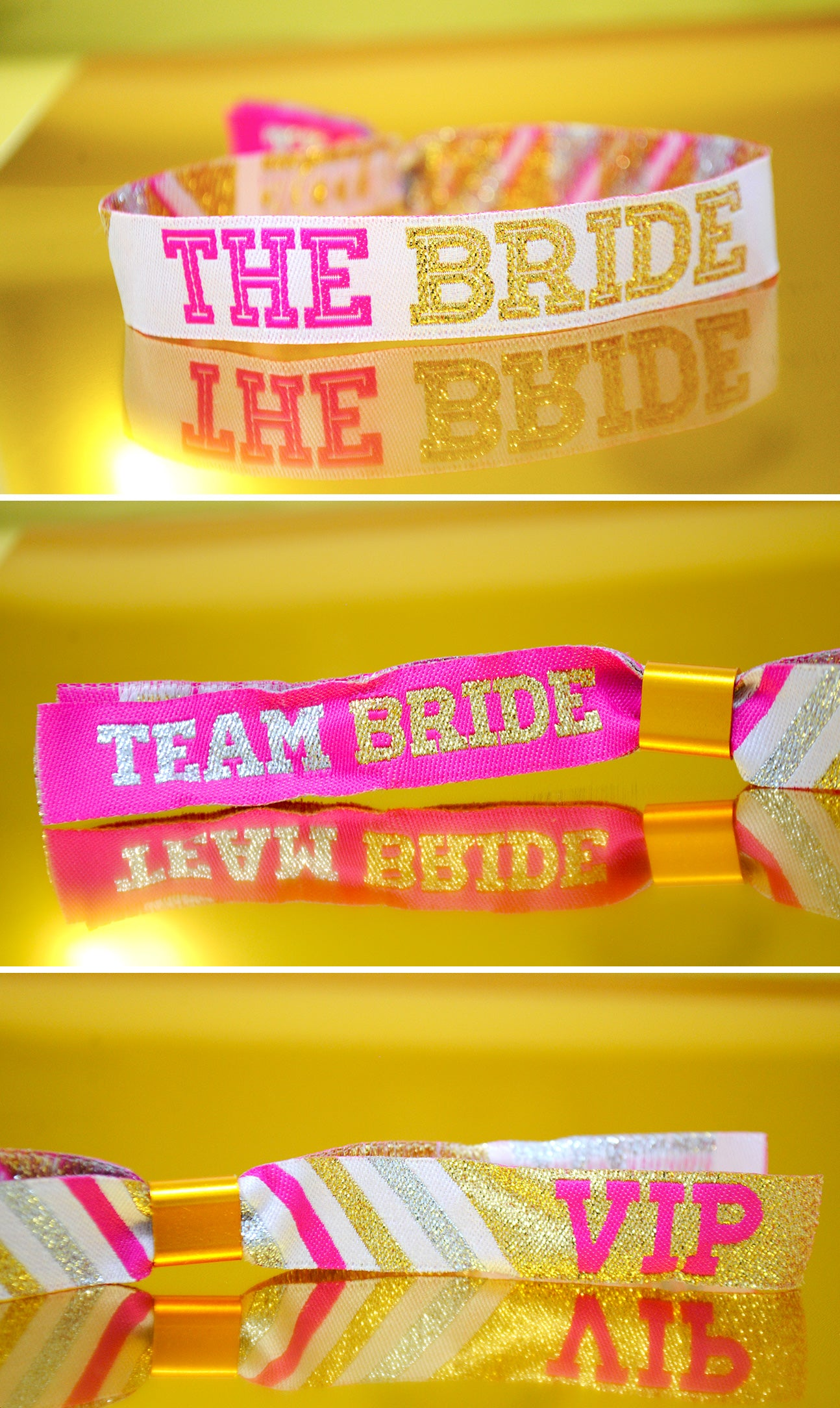 team bride hen party cheerleaders wristband pink and gold