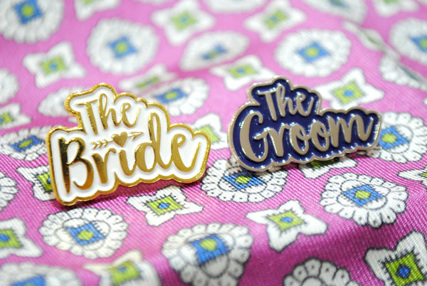 Bride and Groom Wedding Day Enamel Pin Lapel Badges