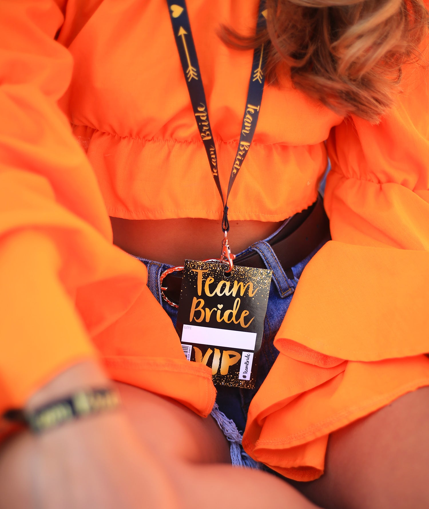TEAM BRIDE HEN PARTY LANYARD BLACK AND GOLD