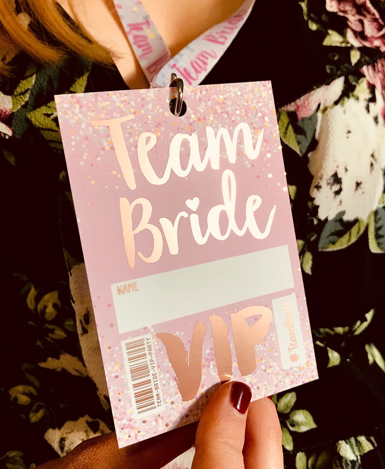 rose gold team bride hen party vip pass lanyards