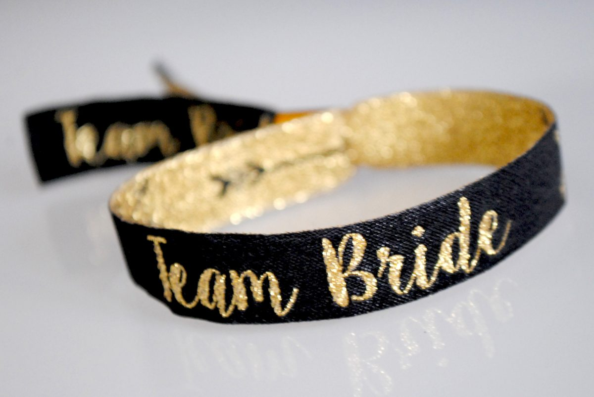 team bride hen party wristbands black & gold