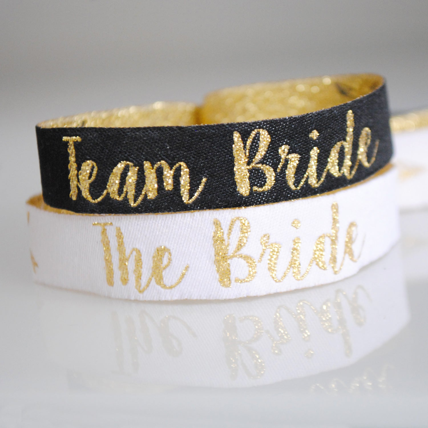 team bride hen party wristband black & gold