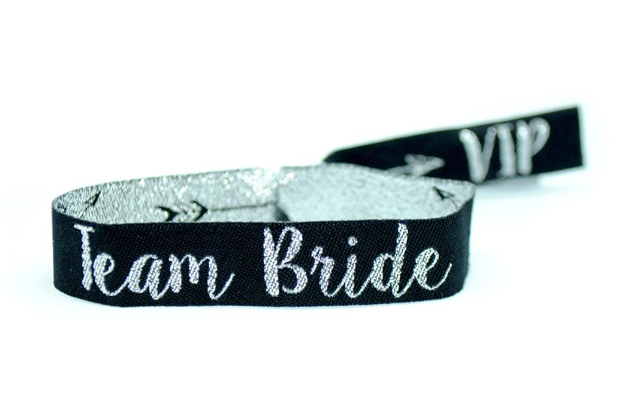 team bride silver black bachelorette party wristband