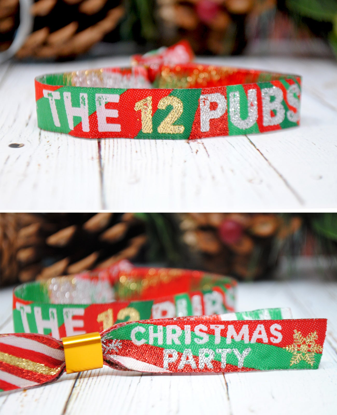 the 12 pubs christmas party wristbands