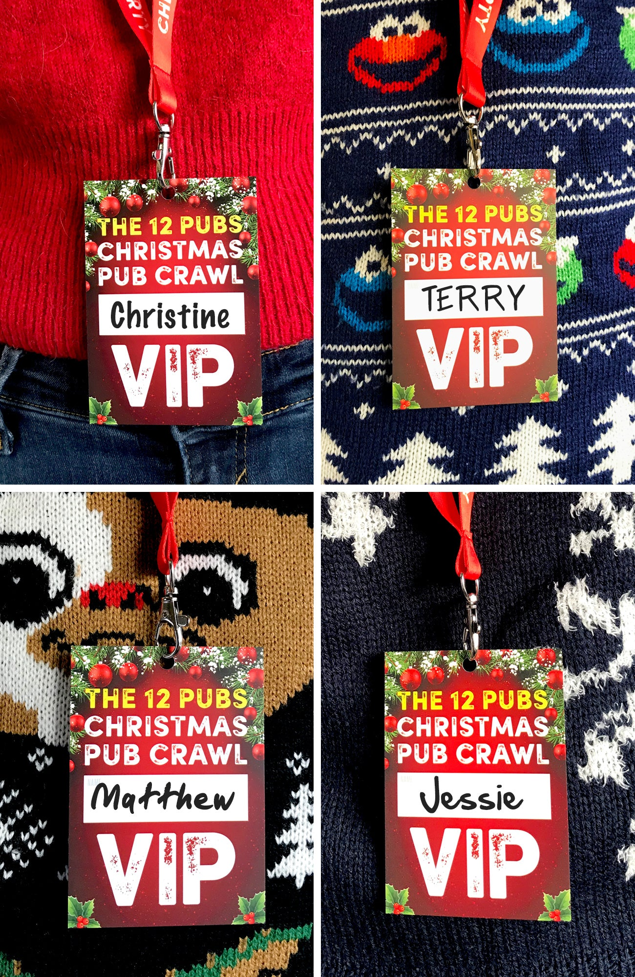 christmas office work party lanyards vip pass
