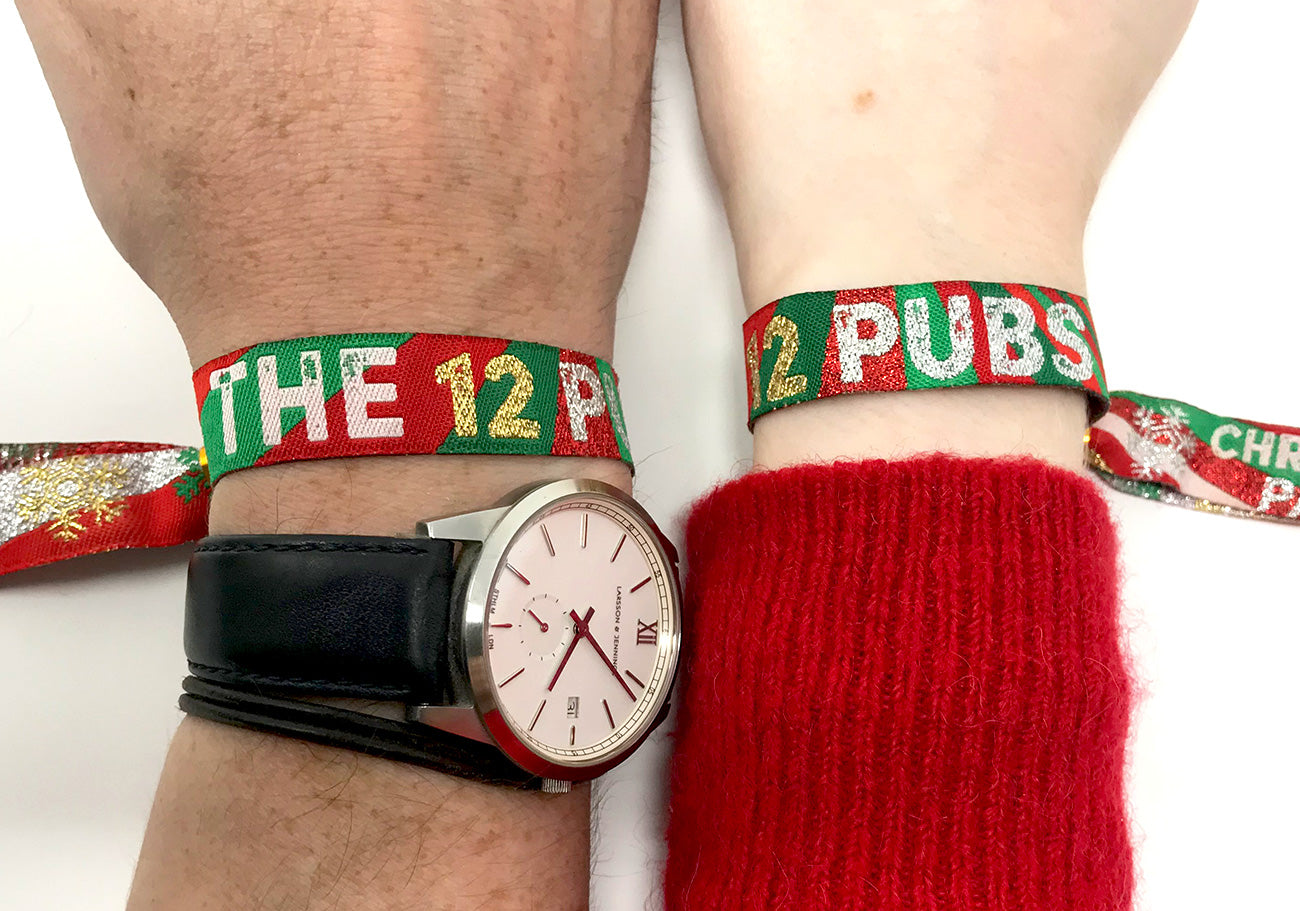 the 12 pubs christmas party pub crawl wristband accessories