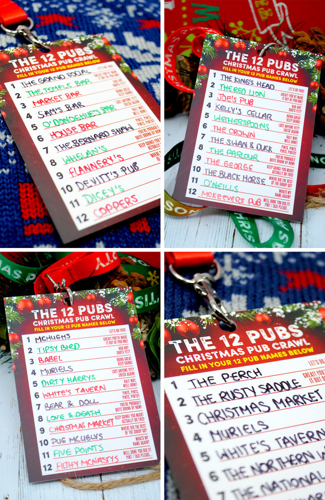 THE 12 PUBS Christmas Party Pub Crawl List Lanyard Guides | Team