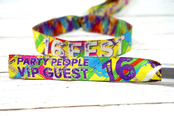 16 FEST 16th birthday party festival wristbands favours accessories