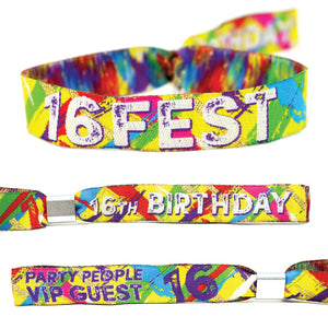 16FEST 16th birthday party festival wristbands
