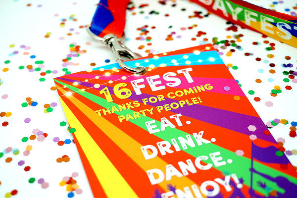 16fest sweet 16 16th festival birthday party vip lanyard
