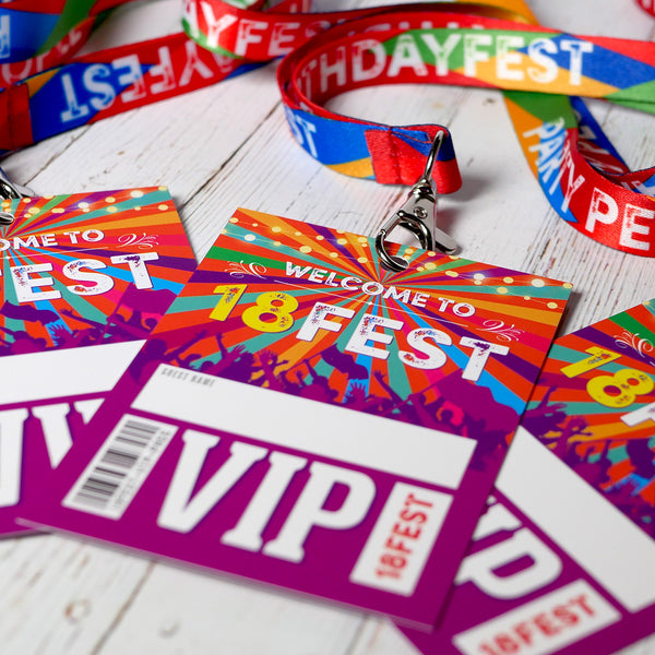 18fest festival birthday party vip pass lanyards