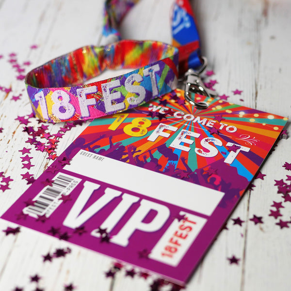 18fest festival 18th birthday party lanyard wristbands favours