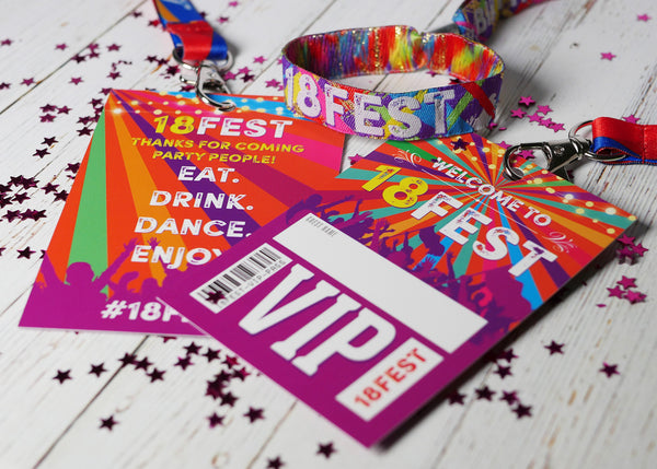 18th birthday party festival favours wristbands neck lanyards