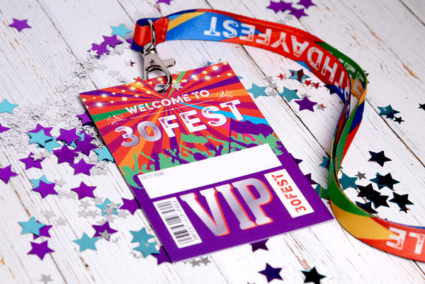 30 FEST festival 30th birthday party vip pass lanyard accessories