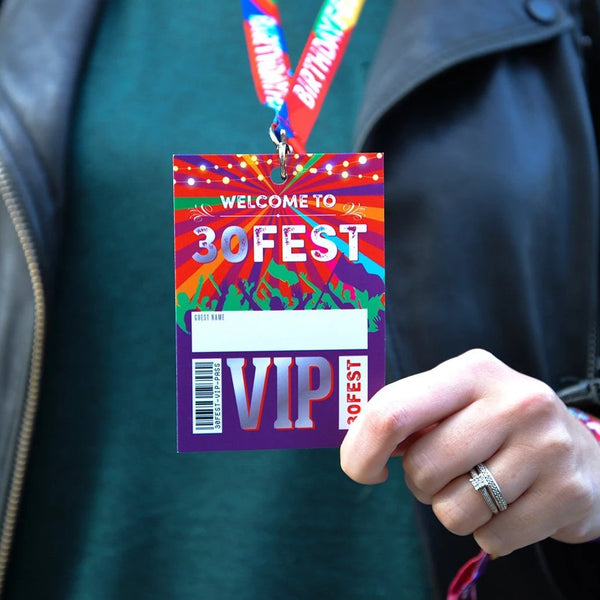 30FEST 30th thirtieth birthday party festival vip pass lanyards