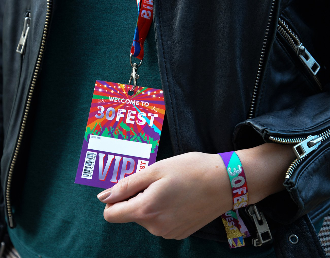30fest 30th thirtieth festival birthday party favours lanyard wristband