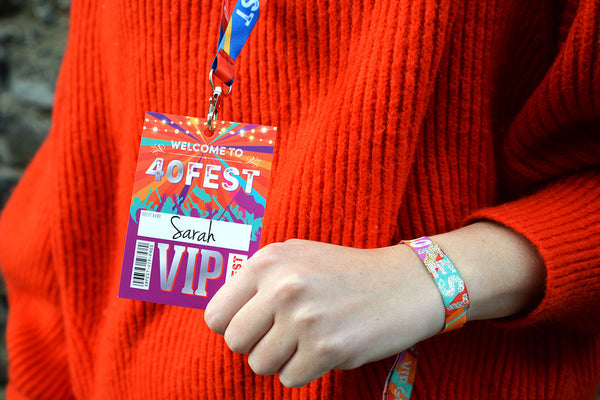 40 forty fest festival 40th birthday party wristbands vip lanyards
