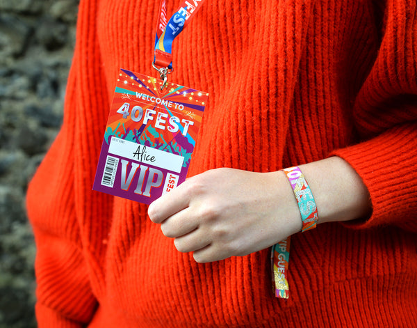 40fest 40th birthday party festival vip pass lanyards