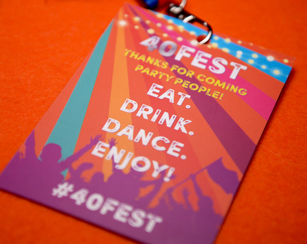 40th birthday party 40 fest favours accessories festival vip pass lanyards