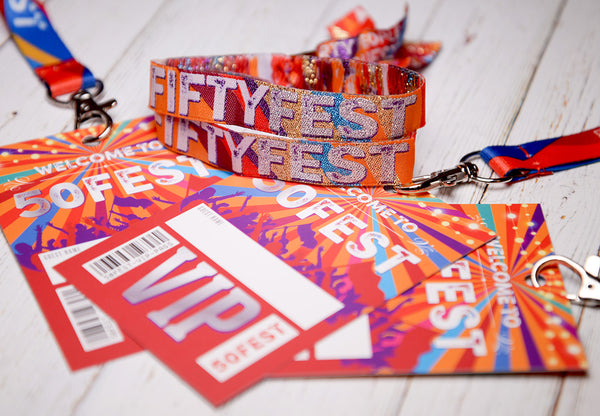 50 fest fifty fest festival party wristbands lanyards