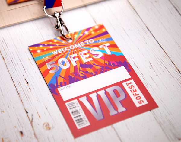 50fest 50th birthday party vip lanyard favours