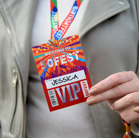 50fest 50th birthday party vip lanyards