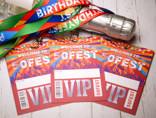 50fest 50th festival birthday party vip pass lanyards