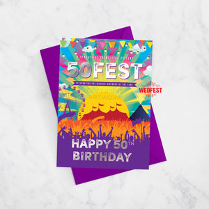 50FEST festival theme 50th birthday card