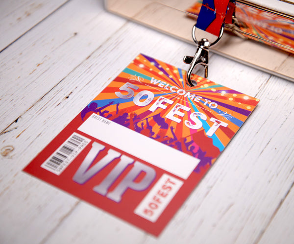50th birthday party favours accessories festival vip pass lanyards