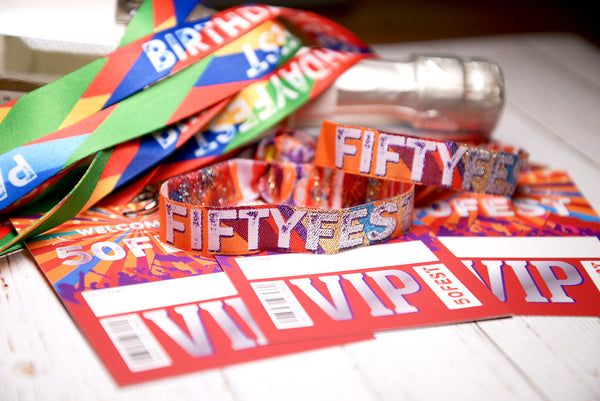 50th birthday party festival themed favours wristband vip pass