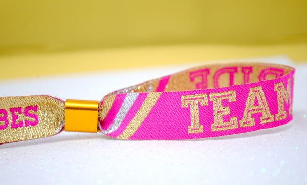 Team Bride 'Cheerleader' Pink / Gold Hen Party Wristbands