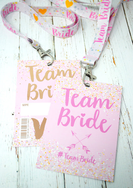 rose gold team bride hen party bachelorette lanyards