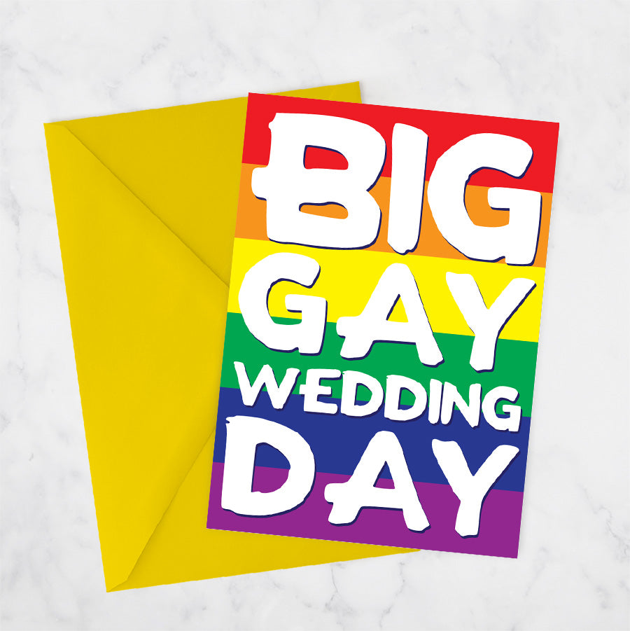 LGBT wedding big gay wedding day card rainbow same sex marriage lesbian gay