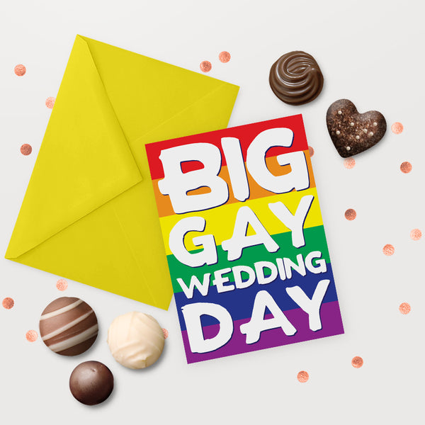 LGBT wedding big gay wedding day weddings card rainbow same sex marriage lesbian gay couple mrs and mrs mr and mr