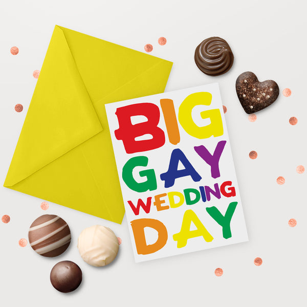 big gay wedding day same sex marriage greeting card