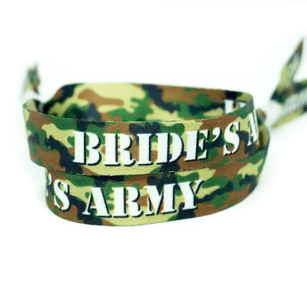 brides army camouflage team bride hen party wristbands favours