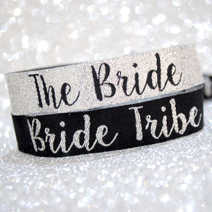 Bride Tribe Silver & Black Hen Party Wristband Favours