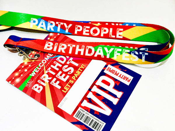 BIRTHDAYFEST Festival Birthday Party VIP Lanyards