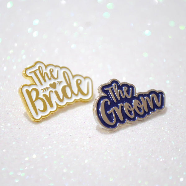 The Bride & The Groom Wedding Enamel Pin Badge Gift Set
