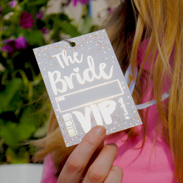 the bride to be hen party vip pass lanyard