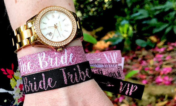 Bride Tribe 'Rose Gold & Black' Hen Party Wristbands